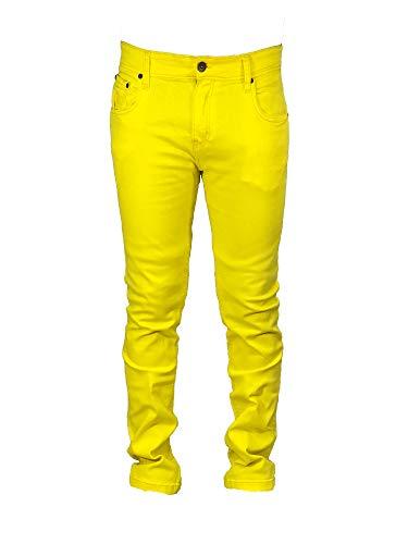 2bad6f24 Georgio Peviani Yellow Mens Designer Stretchy Jeans Straight Fit Plain Denim  Pants (36