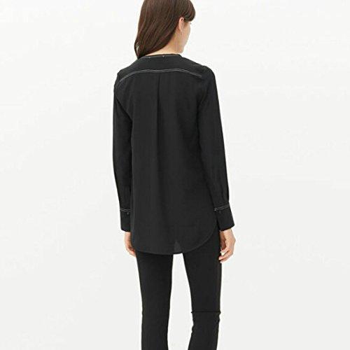 QIYUN.Z Frauen Mit V-Ausschnitt Blusen Lange Ärmeltasche Unregelmäßigen Rand Beiläufige Art Und Weise Ol Hemd Schwarz