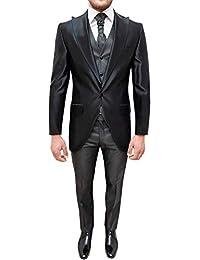 5c03c63576f6 Abito sposo uomo tight sartoriale nero elegante set completo coordinato con  panciotto e plastron