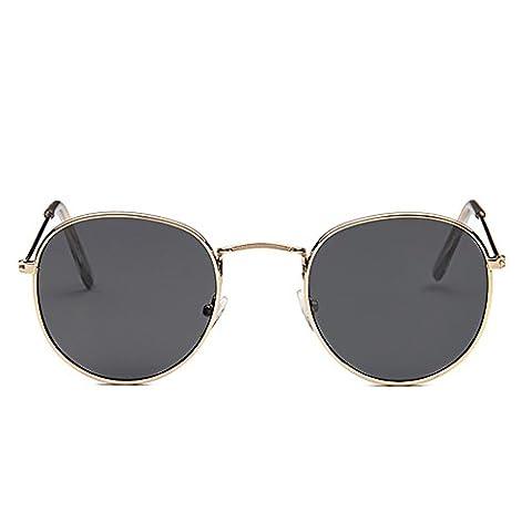 Pingenaneer Lunettes de Soleil - Petits Ronde Vintage 100% UV Protection Unisexe Hommes Femmes Lunettes