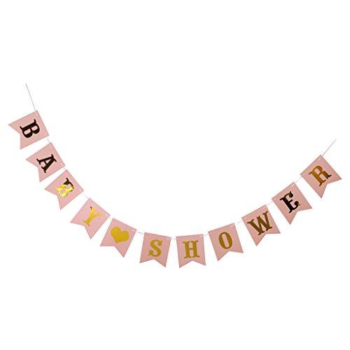 MagiDeal Baby Shower Banner Babyparty Girlande für Baby Taufe Dusche Dekoration - Gold Pink