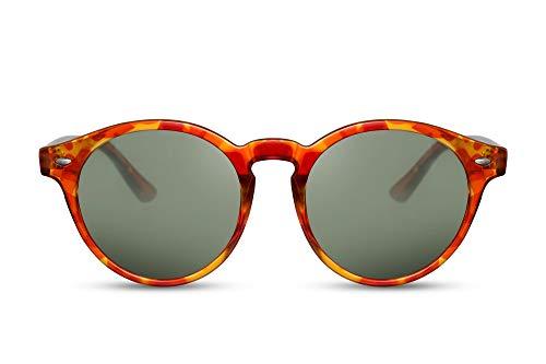 Cheapass Sonnenbrille Rund Rot-Gelb Leopard-Print Trendy UV-400 Damen