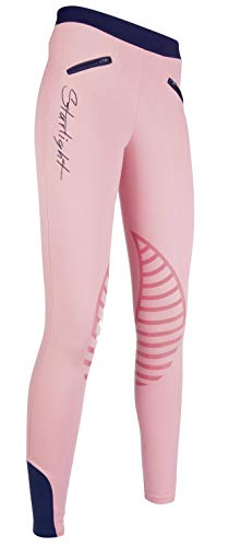 HKM Reitleggings -Starlight- Silikon-Kniebesatz, rosa/dunkelblau, 110/116
