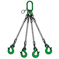 4-strängiges Drahtseilgehänge, einerseits Ring, andere Seite Ösenhaken, NL=1 m, Tragfähigkeit: 1,45 t / 1,05 t