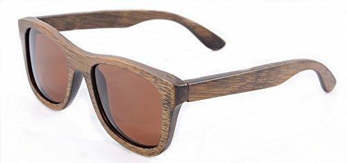 SHINU Woody Bambus Vayfarers Polyarized Flush Spiegel-Objektiv-Sonnenbrille vith Hour-Z6016 (brown)