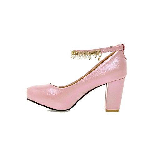 AgooLar Femme Boucle Pu Cuir Rond à Talon Haut Couleur Unie Chaussures Légeres Rose