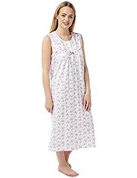 697d538154 Ladies Sleeveless 100% Cotton Jersey Butterfly Print Nightdress. Pink Aqua. Sizes  8-