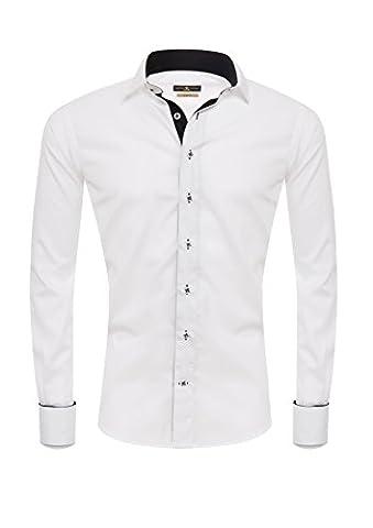 Giorgio Capone Herrenhemd, Freimaurer / Masonic, 100% Baumwolle, weiß, besonderer Umschlagmanschetten mit Stickereien, Kläppchenkragen für Fliegen, Langarm, Slim & Regular Fit (XL (Easy Care Leinenhemd)