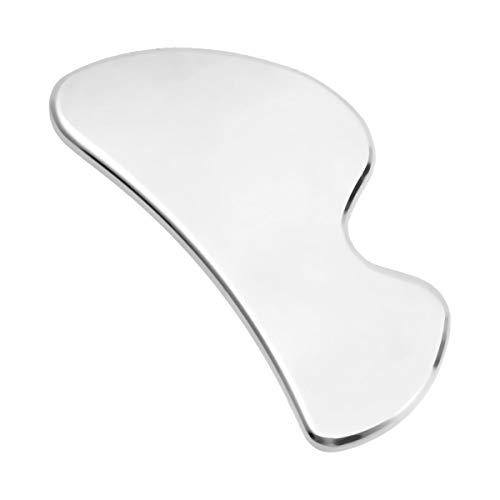 SUPVOX Placa de Gua Sha de Acero Inoxidable para Cuidado de Cara y Cuerpo