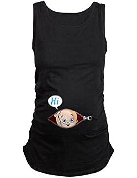 WEIMEITE Top in maglia maternità T-shirt donna incinta estate divertente cotone Top