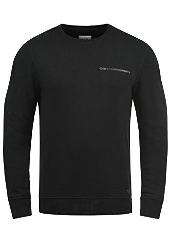 Blend Jesper Herren Sweatshirt Pullover Pulli Mit Rundhalsausschnitt Und Brusttasche, Größe:M, Farbe:Black (70155)