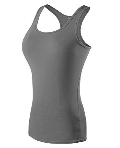 ZKOO Vêtements Mme Serré étirement Gilet de Remise en Forme en Cours Dexécution Formation Yoga Vêtements de Transpiration Mèche Gris