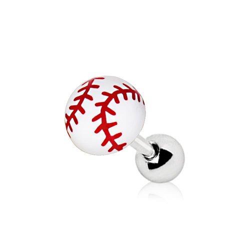 eeddoo Tragus-Piercing Baseball Silber Edelstahl