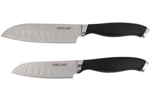 Coffret 2 couteaux japonais lame inox alvéolée