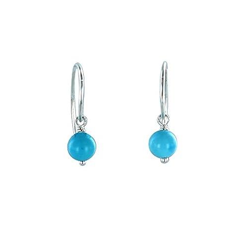 Sleeping Beauty Turquoise Earrings Sterling Silver 6mm Round Hoop