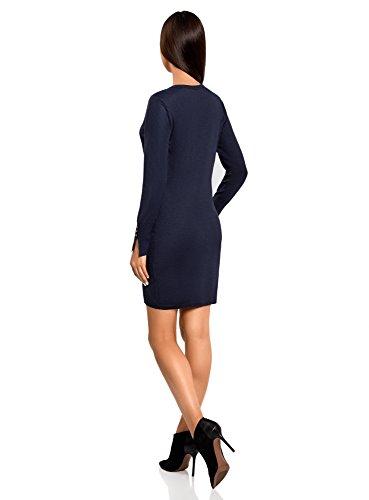 oodji Collection Femme Robe Basique en Viscose avec Manches Boutonnées Bleu (7900N)