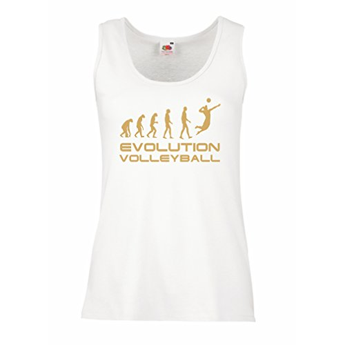 Top Evolution Volleyball - Indoor, Outdoor, Strand Vball Bekleidung (Large Weiß Gold) (Die Simpsons-halloween Anime)