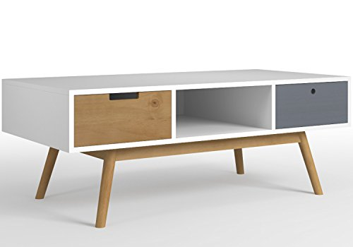 VS Venta-stock Table basse Leti Blanc, Fabriquée en bois de pin massif, 2 tiroirs, 110 cm