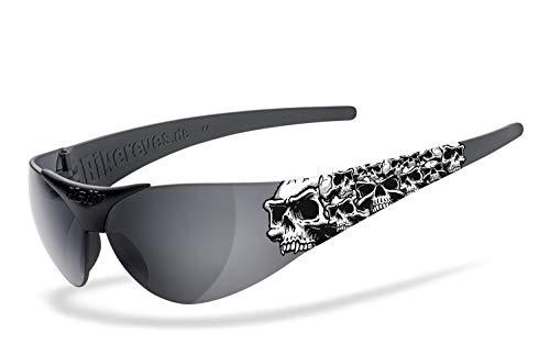 Helly® - No.1 Bikereyes® | H-FLEX®- unzerbrechlich, beschlagfrei, HLT® Kunststoff-Sicherheitsglas nach DIN EN 166 | Bikerbrille, Tribal Brille | Brillengestell: schwarz matt, Brille: moab 4