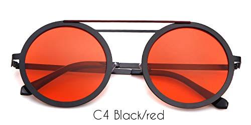 ZRTYJ Sonnenbrille Runde rosa Sonnenbrille Frauen männer markendesigner Retro metallrahmen Flat top Spiegel objektiv 90 s Sonnenbrille Shades