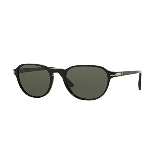 Persol Unisex PO3053S Sonnenbrille, Gestell: schwarz, Gläser: grün polarisiert 901458), Medium (52)