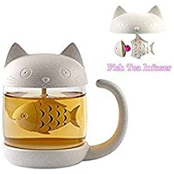 BigNoseDeer Taza de té de Cristal del Gato Taza De Agua Bottle-with Fish Tea Filtro Filtro de infusión 250ml (8oz) (Blanco)