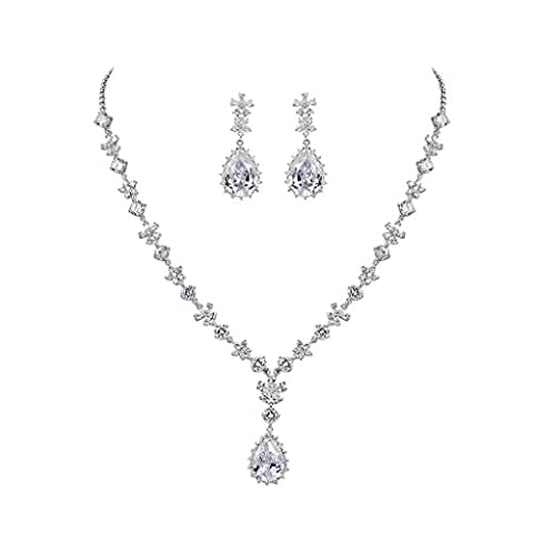 MASOP Flower Necklace Earrings Bridal Set Clear AAA Cubic Zirconia Silver-Tone With Teardrop Pendant,Jewellery for Wedding,Events,Party