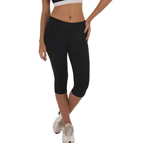 Solid Color-leggings (Damen Sport Leggings Laufhose Sporthose 3/4Shorts,Solid Color Capri Fitness Dünne Hosen Schnell Trocknende Yogahose S-XL)