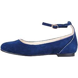 queenfoot Pump6013, Damen Mokassins, - C-Navy Suede - Größe: 36.5