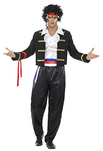 80er Inspirierte Kostüm Jahre - Smiffys Herren 80er Jahre Neue Romantik Kostüm, Jacke, Hose, Hemd und Haarband, Größe: M, 44751