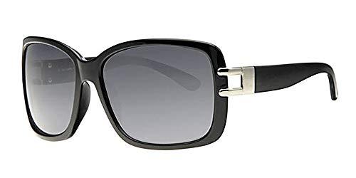 Eyewear World Damen-Sonnenbrille, polarisiert, inkl. Tasche und gelbem Halsband, blendende Schwarze Gläser