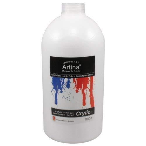 Artina Crylic Acrylfarben - hochwertige Künstler-Malfarbe in 1000 ml Flaschen in Titanweiss & weitere Farben