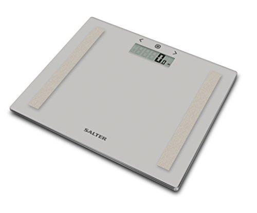 Salter kompakte Waage zur Körperanalyse, BMI, Körperfett, Körperwasser, Ultraschlank, Gehärtete Glasplattform, Personenspeicher 8 Leute, Gut lesbare Anzeige, Digitaler Display, Step-On Technologie