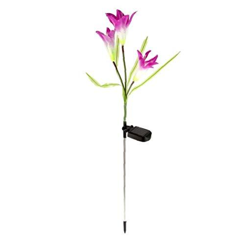 TDlmfRDi Solarblume Stake Leuchten Farbwechsel Solar-LED-Blumen-Lichter Für Garten Innenhof Hinterhof Dekorieren Lila Lilien-Blumen-1 Stück