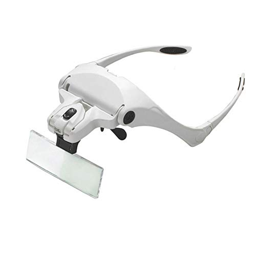 Alextry Stirnband-LED-Lupe 1-3.5X Zoom mit 5 abnehmbaren Gläsern für Schmucklupen-Uhrreparatur