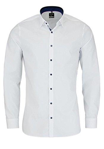 OLYMP No. 6 Six super slim Hemd Comfort Stretch weiß 0493-64-00 Patch