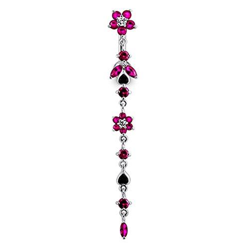 Bijou de Corps Anneau de Nombril motif chaîne de fleurs pendantes en Argent Sterling avec Tige 14G -3/8 Inch (1.6x 10mm) en Acier chirurgical 316L Red