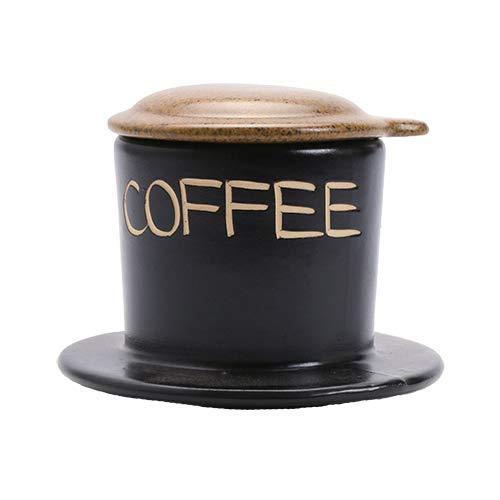 VietBeans Keramikfilter - Handgefertigter Vietnamesischer Kaffeefilter - Cafe Phin Kaffee Vietnam - Eine Kaffeetasse - Wiederverwendbar - Braun