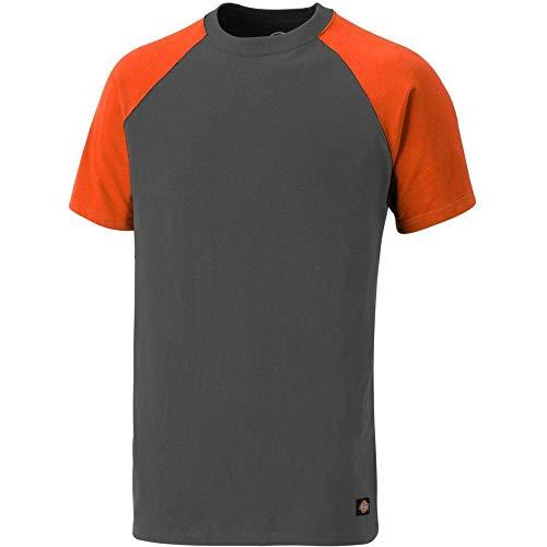 Dickies Two Tone T-Shirt SH2007, 100%Baumwolle, 180g/m², verschiedene Farben (2XL, Grau / Orange) - Sleeve Core Raglan