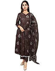 Kurtivala's Women's Cotton Blend Readymade Salwar Suit