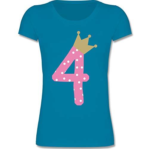 (Geburtstag Kind - 4. Geburtstag Krone Mädchen - 98-104 (3-4 Jahre) - Azurblau - F288K - Mädchen T-Shirt)
