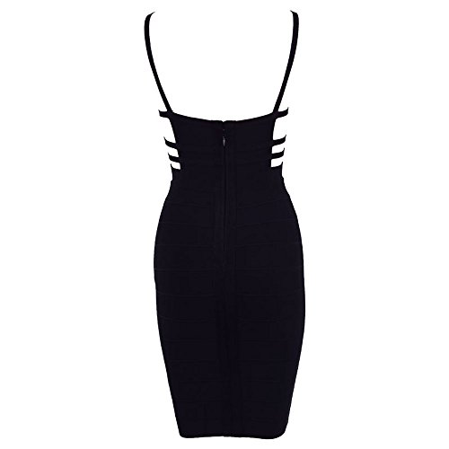 HLBandage Spaghetti Strap Hollow Out Women's Sexy Cut Out Bandage Dress Noir