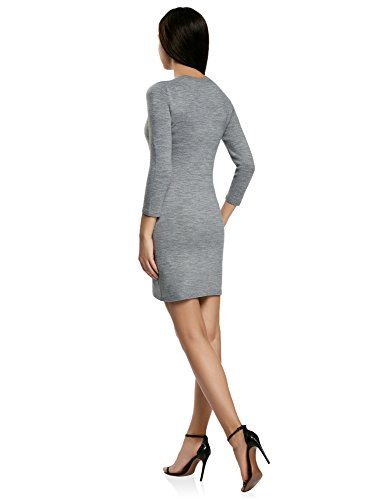 oodji Ultra Damen Kleid Basic mit 3 4Ärmeln Grau 2500M 36c0a61563