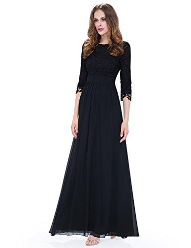 Ever Pretty Robe de soir¨¦e manches 3/4 en dentelle transparente 08412 Noir