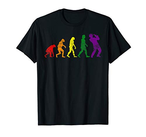 Regenbogen Evolution Saxophon T-Shirt
