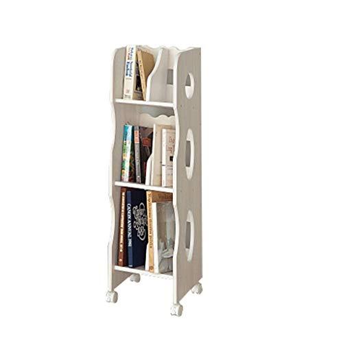 Schränke Bücherregal Für Kinder Großes Dekoratives Lagerregal Mehrschichtige Mobile Lagerregale Bücherregal Mit Kinderboden Multifunktionale Schließfächer (Color : Weiß, Size : 32 * 33 * 105CM) -