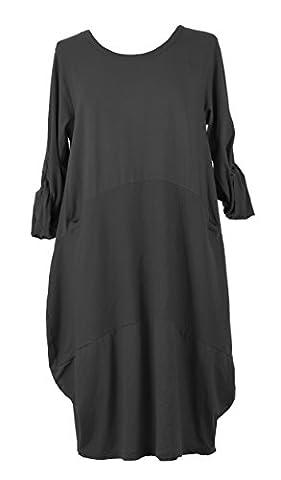 TEXTURE ONLINE Ladies Women Italian Lagenlook Quirky Plain Long Sleeve 2 Slit Pocket Ribbed Panel Cotton Midi Tulip Dress One Size UK 12-18 (One Size, Dark Grey)