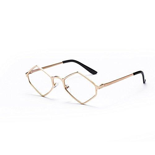 Whycat Sonnenbrille Damen Polarisiert Damenmode Flat Top Super Future Sonnenbrillen Retro Vintage Shades(Gold)