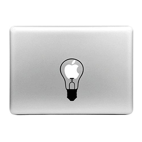 MacBook Sticker Glühbirne Vinyl Aufkleber Schwarz weiß 13 x 8 cm - kompatibel mit MacBook Air, Pro   Laptop Aufkleber zum Personalisieren des Notebooks. ultradünne flexible Computer Skin Lampen Motiv