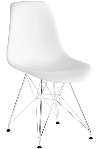 Duehome Steel - Pack de 4 sillas metálicas, 46 x 52 x 82 cm, metal, blanco